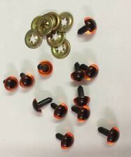 6 PAIRS (12 eyes) PLASTIC AMBER TEDDY eyes including washers Size 13.5 mm