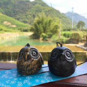 Japanese Furin Owl Wind Chime Nanbu Cast Iron Iwachu Owl Wind Bell Garden Decor