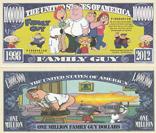 Family Guy Million Dollar Bill Collectible Fake Play Funny Money Novelty Note