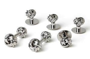 New Men's Silver Love Knots Cuff links Studs Tuxedo Gift Box Made in USA