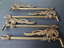 2 Pairs Vintage Swing Arm Curtain Rods/Gold Cast iron