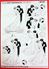 "A4 DIE CUT 3D PAPER TOLE DECOUPAGE ""WEDDING DAY"" SHEET NO CUTTING EASY DCD591"