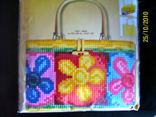 chunky cross stitch tapestry Bag kit by Vervaco Printed flowers acrylic yarn