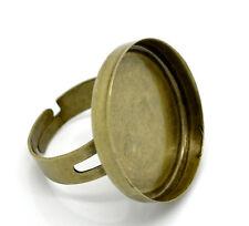 50 Supports de Bague Réglable en Cuivre Couleur Bronze 18.3mm