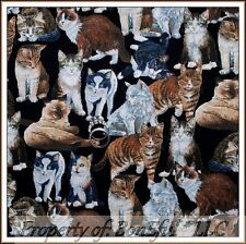 BonEful Fabric FQ Cotton Quilt Brown Black Gray Tiger CAT Feline Face Eye Breed