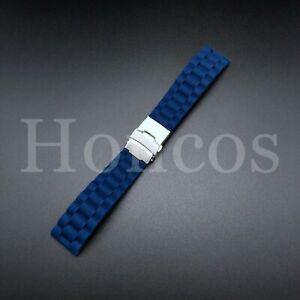 22mm BLUE Silicone Rubber Watch Strap Band Deployment Buckle Waterproof Belt