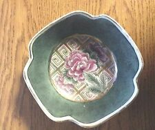 Vintage Collectibles Asian Hand Painted Pink & Green  Floral Rice Bowl