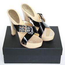 GIUSEPPE ZANOTTI $750 wood platform clogs patent leather sandal shoes 38.5 NEW