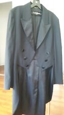 VINTAGE ORIGINAL LOUIS FERAUD TUXIDO SET LONG TAIL Jacket BLACK 100% wool Size 8
