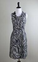 KATE SPADE New York $348 Silk Ruffle Neck Rose Zebra Lined Sheath Dress Size 2
