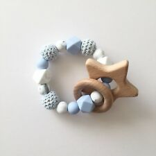 Baby Silicone Ring - Teething Rattle - Crochet Teether - Chew Toy - Baby Blue