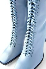 NEW ZARA 2020 BLUE RUNWAY COLLECTION LACE UP HIGH HEEL BLUE LEATHER BOOTS