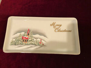 Christmas In The Country Giftcraft Toronto Church in Pine Trees dish Japan
