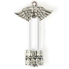 "Glass Vial Pendant w Wings Antiqued Silver Screw Top 2.25/"" Fillable Locket Qty 1"