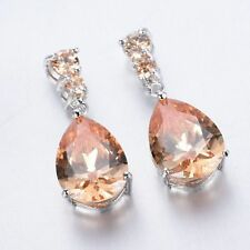 Women Fashion 925 Silver Morganite Stud Drop Dangle Earring Wedding Jewelry New