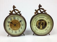 More details for pair antique french novelty clock & barometer- ships marine desk set paris rare