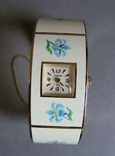 VINTAGE 17 JEWELS SWISS Signore Ragazze WATCH HAND-PAINTED SMALTO braccialetto a molla