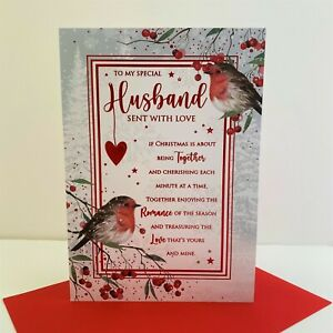 Cherry Orchard My Special Husband Sent With Love Christmas Card Robins /XN769