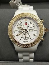 New Authent.Womens Michele MWW17B000007 Diamond Jetway white Ceramic watch $2095