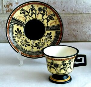 Vassilopoulos Louvre Museum Greece 600 BC Coffee Tea Cup Saucer Warrior Fighting