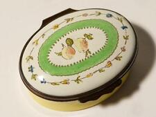 Halcyon Days Enamel Oval Pill Trinket Box Fruit & Flowers Boxed, Ex Bruhl #D