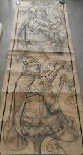 Oud zgn.CARTON(potl.+Inkt-ontwerp kerkraam-glas in lood?):Koningen OT?-75x215cm!