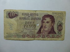 Old Argentina Paper Money Currency #295 1973-76 10 Pesos Decreto - Well Circ ink