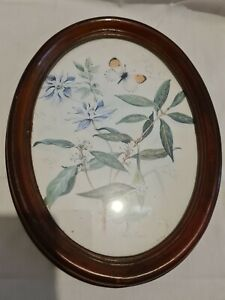 Framed Oval  Shaped Signed John Evans Floral Picture