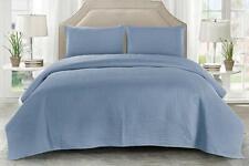 Wonder Home 3 Pieces Bologna Blue Washed Cotton King Size Quilt Set