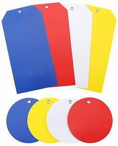 """Plastic Tags - Choose Size & Qty - Waterproof Tearproof - 2"""" 3"""" 5"""" 6"""" 50 100 200"""