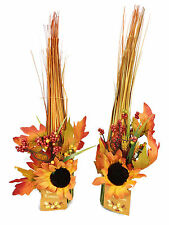 Thanksgiving Centerpiece BEAUTIFUL Colorful Fall ORANGE LOT OF 2 TABLE DECOR