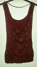 Ladies Red Top with Silver Flower detail Size 14