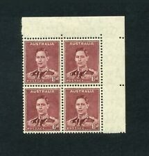 More details for australia 1937-49  1.5d maroon p15x14 corner blk of 4 sg182 mlh cv£32     sale