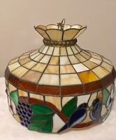 Vintage Leaded Stained Glass Hanging Dome Fixture Tiffany Style Lamp -Hard Wired