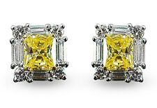 925 Sterling Silver CZ Yellow radiant White Baguette Round stud Earrings - Mag