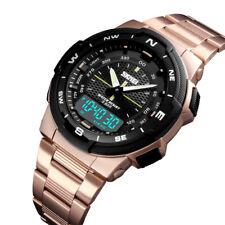 Skmei мужские золотые часы роскошный бизнес мужские сталь светодиодные цифровые кварцевые наручные часы