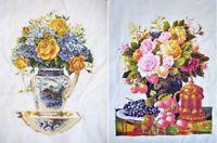 """New Finished Cross Stitch Needlepoint""""Flowers Vase""""Decor Gifts"""