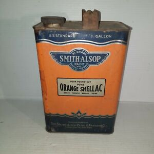Vintage Smith Alsop Paint and Varnish Company Orange Shellac 1 gallon Metal can