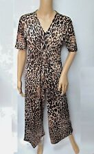 Pamela Mccoy Ankle Length Wide Leg Jumpsuit Womens Plus Size 1X Animal Print