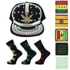 Cannabis Gangster Baseball Cap Bandana & Sock Combo (Gilded J-Leaf / Black 024)