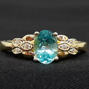World Class .95ctw Apatite & Diamond Cut White Sapphire 14K Yellow Gold 925 Ring