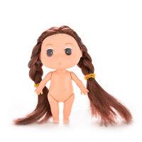Mini bambola nuda da 8 cm con doppia treccia marrone Principessa torta sta CRIT