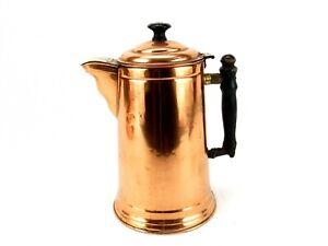 Vintage Copper Coffee/Teapot, Brass Hinges Wood Handle & Finial, Rome Metal Ware