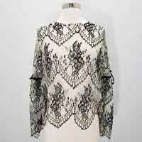 Altar'd State Lace Top Women's Sheer Black & Cream Floral Bell Sleeve Medium