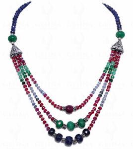 Multi Color Precious Gemstone Bead & Silver Elements 3 Rows Necklace NP1055