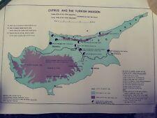 CYPRUS TURKISH INVASION Map Vintage  RARE! ESTATE FIND