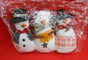 Snowman Carolers Trio 6 Inch Tall Plush Brand New Factory Sealed