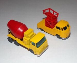 Vintage Husky ERF Cement Mixer Truck + VW Lift Tower Truck 1960's