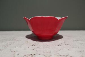 Vintage Sauce Relish Ice Cream Serving Bowl - Japan - Lotus Shape - Red - Vgc