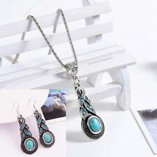 Tibet Silver Women Crystal Jewelry Set Pendant Turquoise Necklace+Earrings
